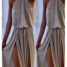 Wholesale Sexy Off-The-Shoulder Sleeveless High Furcal Women's Maxi Dress Only $6.01 Drop Shipping | TrendsGal.com
