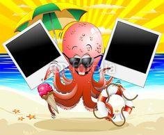 #Funny #Cartoon #Octopus #Summer #Holidays #Memories! #Vector © #Bluedarkat - on #Fotolia!