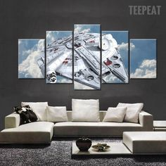 Star Wars: Millennium Falcon Painting - 5 Piece Canvas #prints #printable #painting #canvas #empireprints #teepeat