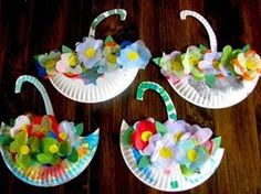 paper plate umbrellas filled with spring flowers craft ~Pinned by www.FernSmithsClassroomIdeas.com