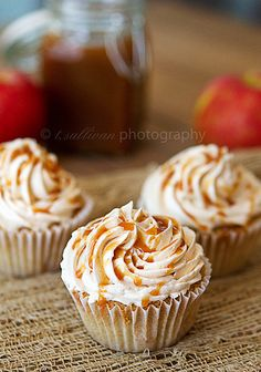 Caramel Apple Pie Cupcakes:  cinnamon cupcakes with apple pie filling, swiss buttercream icing, and caramel drizzle