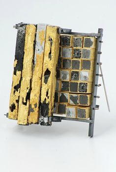 Michael Rybicki - Brooch - Poured Grids and Poured Columns jewelry look like concrete set into metal, but they are actually enamels made to look like concrete