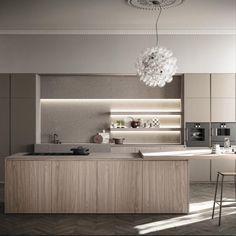 Prezentăm o configurație de bucătărie tranzițională Zampieri Cucine care inițiază un dialog de volume și forme cu mobilierul de living room pentru a ajunge la un acord de stil. Observăm o serie de materiale naturaliste – lemn Canaletto Walnut, piatră Porphyry, inclusiv accente de metal și vitrine de sticlă. Sunt câteva detalii care aduc lumină asupra întregului ansamblu – iluminarea LED este de mare efect. În cuvintele lui Constantin Brâncuși – Arhitectura este sculptură locuită. Construction Jobs, The Sims, Home Deco, My House, Sweet Home, New Homes, House Design, Design Case, Cabinet