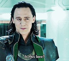 """(.gif) He is just so freaking cute in that scene, turning on the charm to Agent Romanoff before he goes all """"mewling quim!"""" [And yes Tom, it is love.] ;)"""