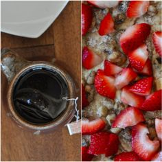 healthy coffee cake with strawberries
