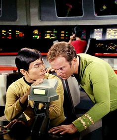 Star Trek Tos - Sulu & Kirk - kinda weird now that we all know how much George hates Bill - always seemed like professional jealousy - too bad since both are good actors. Star Trek Original Series, Star Trek Series, Star Wars, Star Trek Tos, Science Fiction, Cosmos, Star Trek Episodes, Star Trek 1966, Star Trek Captains