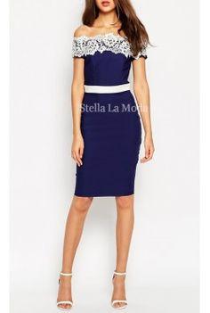 Contrast Lace Off Shoulder Pencil Dress