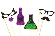 Halloween Photo Booth Props - 6 piece set - GLITTER Photobooth Props - Cat and Mad Scientist