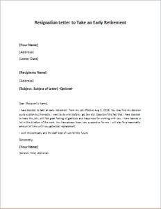 resignation letter to take an early retirement download at httpwriteletter2com letter of retirement
