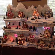 Styrofoam For Christmas Villages Displays Christmas Village Display, Christmas Town, Christmas Villages, Noel Christmas, Vintage Christmas, Christmas Crafts, Christmas Ornaments, Christmas Mantles, Silver Christmas