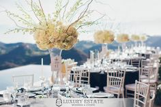 White Centerpiece | Wedding Planning & Design by Luxury Estate Weddings & Events | luxuryestateweddings.com