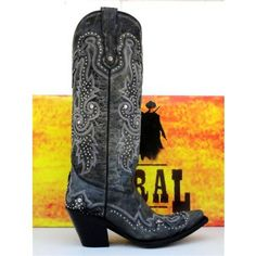 Corral Cowgirl Boots Womens Tall Black Wingtips with Studs G1030