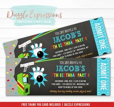 Printable Fun Center Ticket Birthday Invitation, Arcade Birthday Party, Boy Birthday Party, Laser Tag, Bowling, Rock Climbing, Arcade Games, Kids Party, FREE thank You Card, DIY Party Package Decorations, Dazzle Expressions Ticket Invitation, Printable Birthday Invitations, Party Printables, Printable Thank You Cards, Free Thank You Cards, Birthday Party At Park, Boy Birthday, Time Flies Birthday