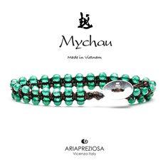Mychau Double - Bracciale Vietnam originale realizzato con doppia fila di pietre naturali Agata Verde su base col. Testa di Moro
