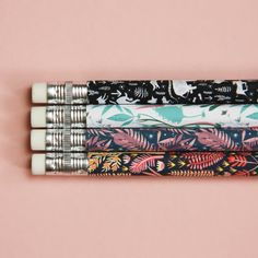 A set of four HB sketching pencils like no other, featuring gorgeous nature inspired illustrations, with a smooth matte finish. At Papio Press we Trombone, Washi, Chat Kawaii, Textile Patterns, Paper Goods, Gift Guide, Best Gifts, Objects, Etsy Seller
