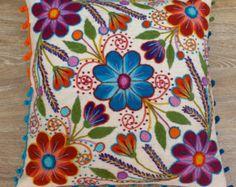 Perú bordado almohadas bordadas flores de ovejas y por khuskuy