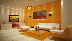 Salotto con parete gialla
