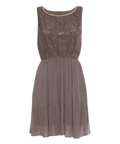 Another great find on #zulily! Gray Pearl-Neck Pleated Boatneck Dress #zulilyfinds