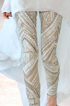 Amazing beaded leggings by Antonio Berardi, Spring/Summer 2012 Pastel Outfit, Mode Chic, Mode Style, Look Fashion, Winter Fashion, Womens Fashion, Street Fashion, Fashion Walk, Fashion Glamour