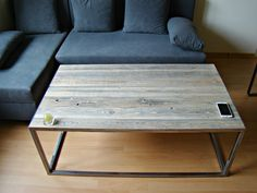 The functional, industrial design coffee table is informed by years of reclaimed wood. An angular metal frame supports with sleek, minimal lines. Coffee Table Metal Frame, Industrial Furniture, Industrial Design, Vintage Shabby Chic, Artisanal, Wood Table, Wood And Metal, Steel Frame, Metal Working