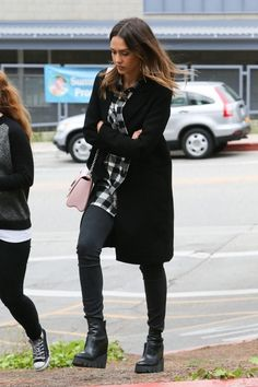 Jessica Alba wearing Ash Platform Wedge Chelsea Boots, Cynjin Boyfriend Plaid Shirt and Louis Vuitton Twist MM Bag