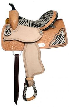 Double T barrel saddle with zig zag border tooling and zebra print on seat Horse Gear, My Horse, Horse Love, Horse Tack, Horse Riding, Breyer Horses, Western Tack, Western Saddles, Barrel Saddle