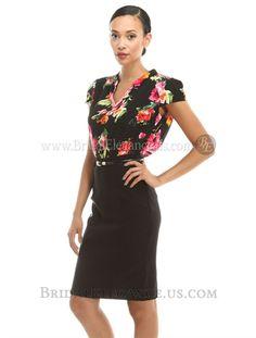 $51.00 | Floral Top & Black Short Dress 222761 | BE Boutique #officeattire