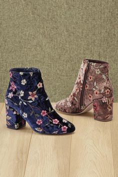4ca926eeb490 Embroidered Velvet Ankle Boots by Boston Design Studio™