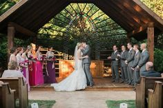 Bright & Beautiful Avalon Legacy RanchWedding. Vintage from Rent My Dust.  Photos by Jessica Gold Photography.  Beautiful outdoor ceremony site.  First kiss!