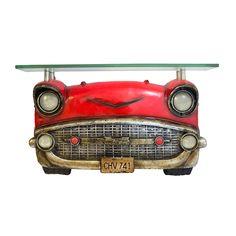 Que tal este Aparador Carro Vermelho c/ Tampo de Vidro Oldway - 64x37 cm Compre aqui: www.carrodemola.com.br/produtos/14074/aparador-carro-vermelho-c-tampo-vidro-oldway-64x37-cm