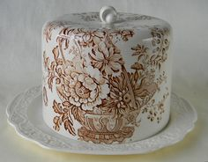 Victorian Basket of Flowers Vintage Brown Transferware Cheese Bell with Matching Platter.  Hard to Find!