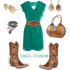 green dress with brown accesoires