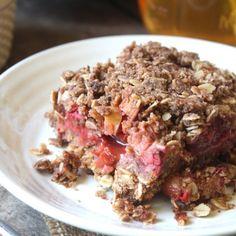 Strawberry Rhubarb Crumble Squares! (vegan, GF option)