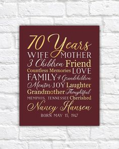 70th Birthday Gift For Mom Grandma 70 Year OId Born 1948 Grandmother Mother In Law Moms Bday Party Wine