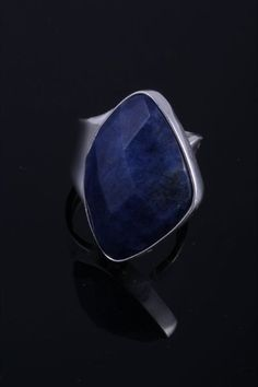 Sodalite Ring. Chunky Silver Rings made by artisans in Peru #chunkysilverrings #chunkyring #chunkyjewelry