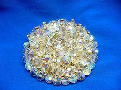 Huge Rhinestone-Tipped Aurora Borealis (AB) Crystal Wedding Brooch by MarlosMarvelousFinds, $32.00