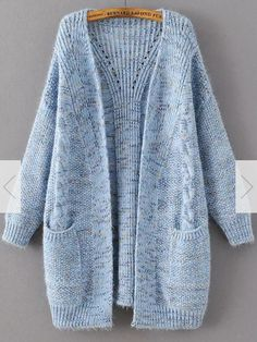 Shop Blue Marled Knit Long Sweater Coat With Pocket online. SheIn offers Blue Marled Knit Long Sweater Coat With Pocket & more to fit your fashionable needs. Long Sweater Coat, Long Knit Cardigan, Knit Jacket, Long Sweaters, Sweater Cardigan, Knitting Sweaters, Cashmere Cardigan, Fashion Mode, Look Fashion