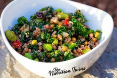 Quinoa, Kale and Edamame Super-Food Bowl | Only 157 Calories | Easy & Nutrient-packed | For Nutrition & Fitness Tips & RECIPES please SIGN UP for our FREE NEWSLETTER www.NutritionTwins.com