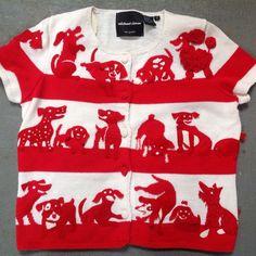 Michael Simon Sweater Dogs Woof  S Red White Felt Embellished #MichaelSimon #Cardigan