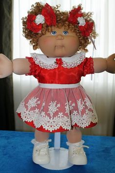 """Cabbage Patch Doll Cloths-Red and White dress-panties 2 hair bows - fits 16"""""""