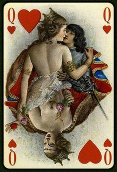 Queen of Hearts : Paul-Emile Becat : History of Erotic Art La Danse Macabre, Art Beauté, Vintage Playing Cards, Art Graphique, Queen Of Hearts, Deck Of Cards, Tarot Cards, Erotic Art, Decks