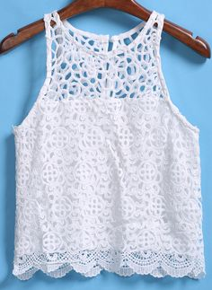 To find out about the Round Neck Lace Hollow Vest at SHEIN, part of our latest Tank Tops & Camis ready to shop online today! Fashion Sewing, Retro Fashion, Boho Fashion, Fashion Dresses, Ankara Dress Styles, Cute Outfits For School, Embroidery Fashion, Street Style Summer, Lace Crop Tops