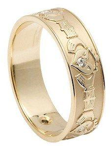 10K Gold & Diamond Men's Claddagh Ring