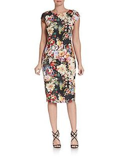 Floral-Print Sheath Dress...love this! But black is sold out...would have to go with the teal toned one.