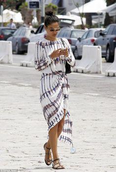 Studded sandals and tie dye dress http://fashionlook.co  #getfashionlook #fashionblogger