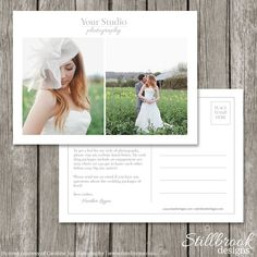 Marketing Template Flyer Card for Photographers - Wedding Photography Marketing Postcard Template Board - Simple Advertising Design