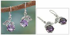 Artisan Crafted Sterling Silver Amethyst Floral Earrings - Forbidden Fruit | NOVICA