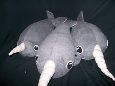 Narwhal plushies - pattern at http://www.craftster.org/forum/index.php?topic=328302.msg3794425#msg3794425