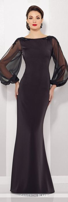 Formal Evening Gowns by Mon Cheri – Fall 2016 – Style No. 216680 – black evening… Formal Evening Gowns by Mon Cheri – Fall 2016 – Style No. 216680 – black evening gown with illusion chiffon long sleeves Trendy Dresses, Elegant Dresses, Beautiful Dresses, Nice Dresses, Fashion Dresses, Short Dresses, Dresses With Sleeves, Evening Gowns With Sleeves, Classy Gowns