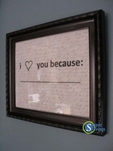 DIY Gifts for Your Girlfriend and Cool Homemade Gift Ideas for Her  | Easy Creative DIY Projects and Tutorials for Christmas, Birthday and Anniversary Gifts for Mom, Sister, Aunt, Teacher or Friends |I Love You Because Wall Art Idea | Cool Crafts and DIY Projects by DIY JOY  http://diyjoy.com/diy-gifts-for-her-girlfriend-mom